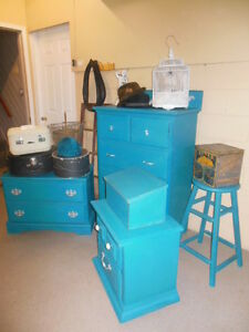 antique dresser, nightstands, stools, etc. painted,  teal London Ontario image 7