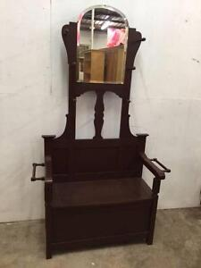C29017 Vintage ART DECO Hall Stand w/ Box Seat & Mirror Unley Unley Area Preview