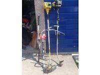 Three petrol powered strimmers / multi tools spares or repair