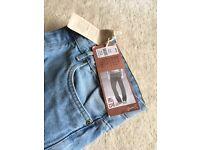 low rise ,tailored leg narrow fit W 34 L 32 pale blue jeans