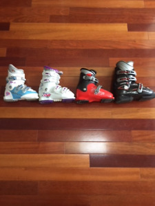 Children's gently used down hill ski boots and poles