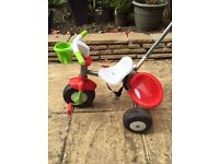 Ofrat Red & Green, 2 in 1 trike, baby bike, parent steering handle and storage