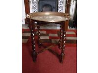 Antique Oak Barley Twist Side Table with Willow Pattern Brass Tray Top