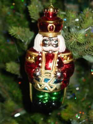 "Vtg Christmas Ornament Toy Soldier & Drum Huge Blow Mold Hard Plastic 7"" Rare"