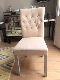 TOTAL £300 for 8 * Dining Chairs, cream - Very good condition - Viscose Cotton Fabric from MADE