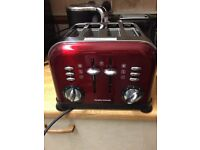 morphy richards 4 slice accents toaster red