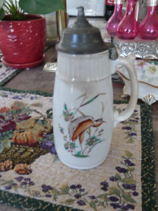 Beautiful Fine English Porcelain Antique Covered Syrup Jug 1879