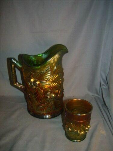NORTHWOOD CAENIVAL GLASS GREENACORN BURR PITCHER ONE TUMBLER