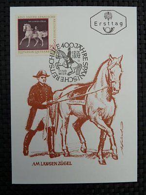 AUSTRIA MK 1972 1398 REITSCHULE MAXIMUMKARTE MAXIMUM CARD MC PFERD HORSE a8527