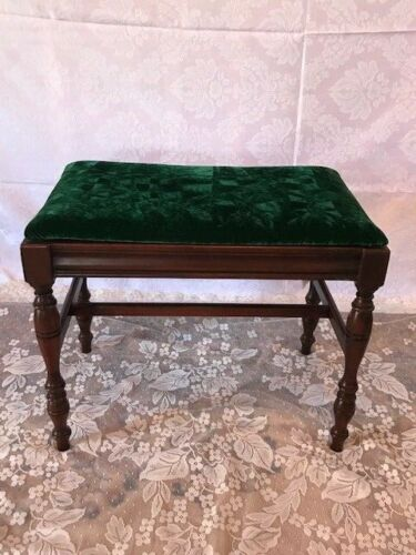Antique Carved Wood Upholstered Piano Bench Chair