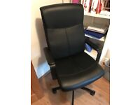 Black leather effect office chair in as new condition