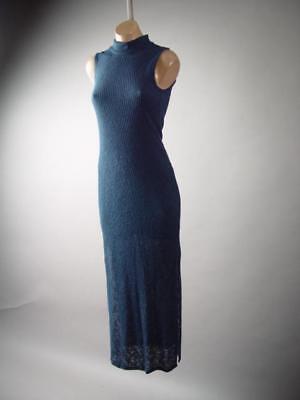Navy Blue Mock Turtleneck Ribbed Knit Slim Sweater Long Maxi 285 mv Dress S M L