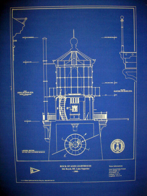 "Lighthouse Lens Rock of Ages Lake Superior 1908 Blueprint Plan 16""x20"" (295)"