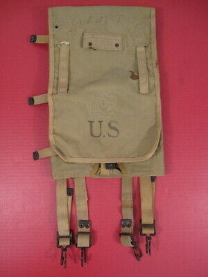"""WWII US Army M1928 Haversack Pack Khaki Color """"British Made"""" Dtd 1944 - Nice #2"""