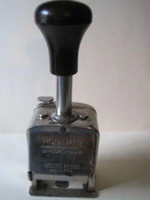 Vintage Roberts Auto Numbering Machine Hand Stamp Model 190