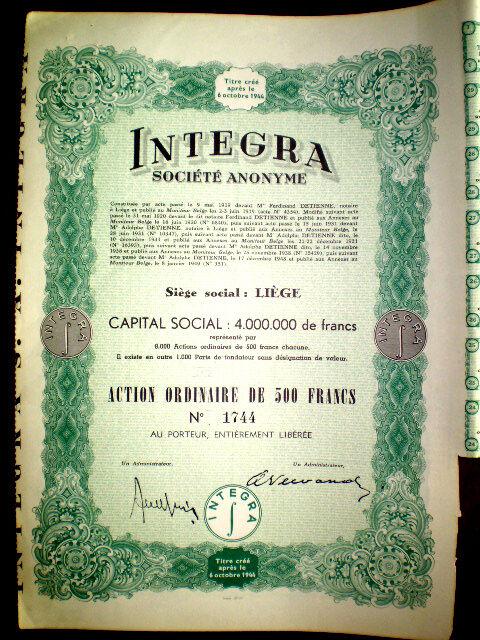 Integra s.a. share certificate 1949 Belgium