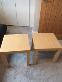 two matching occasional tables - light oak colour. Excellent condition