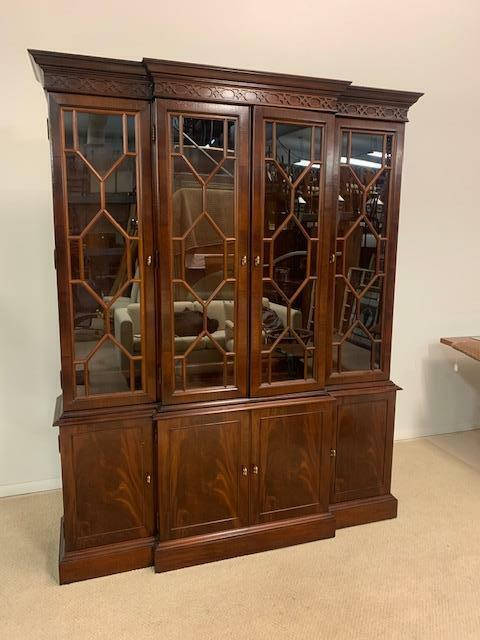 Chippendale Mahogany Breakfront Bookcase Hickory Chair James River Collection