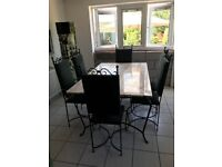 Table Base and 6 Wrought Iron Chairs Extremely Good Condition