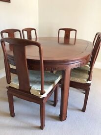 Chinese Rosewood 6/4 Seater Dining Table with 6 Chairs and Rosewood Display Cabinet To Match