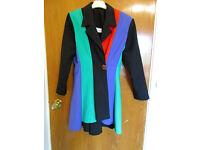 Ladies Vintage (1980's) Size 10 Black Multi Panelled Jacket/Top with Crystal Button/Shoulder Pads