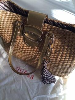 GUESS Camel Brown Straw Handbag with gold accents. Salter Point South Perth Area Preview