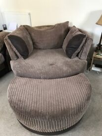 Swivel Snuggle Chair with footstool