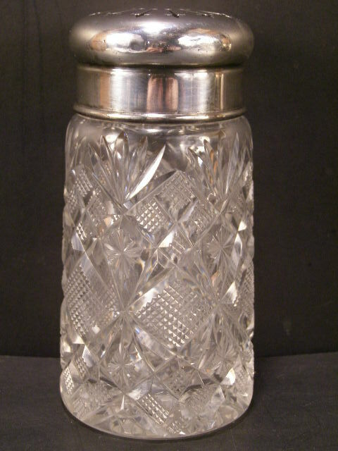~19 c Victorian Cut Glass Sugar Muffineer Cheese Shaker Condiment Castor Bottle~
