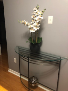 Glass and metal accent table