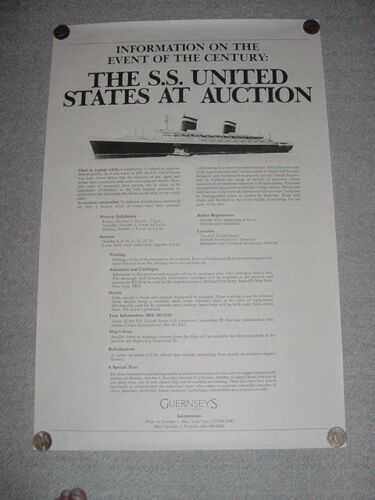 SS UNITED STATES LINES  1984 Large Auction Poster