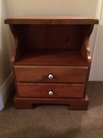 Bed side table. Solid wood with drawer. Good condition