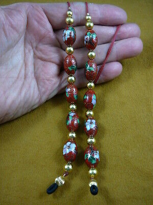 #E-66-147)  RED Cloisonné Eyeglass leash holder gold necklace lanyard beaded