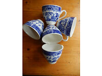 5 vintage EIT, England stamped, Willow Pattern teacups.