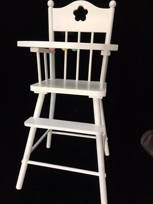 White Wood Doll High Chair baby furniture American Girl Tray Emma Sage