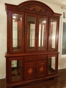 China Cabinet, wood and Glass, with lights