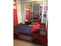KIDS FIRE ENGINE BED AND MATCHING CHEST OF DRAWERS