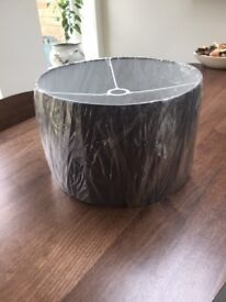 Large Copper and Silk Grey 16 inch Drum Lampshade. New. RRP £85. Collect from Fulham