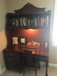 """""""REDUCED:"""" Antique style desk with book shelf & chair"""