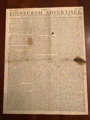 Battle Guilford Courthouse Revolutionary War 1781 Edinburgh Advertiser Newspaper