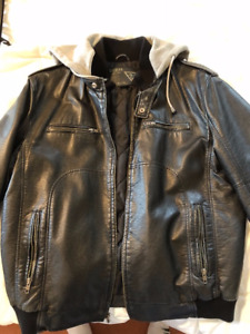Guess Mens' Motorcycle-Style Leather Jacket
