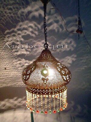 B107 Brass Handmade Art Beaded Hanging Lampshade
