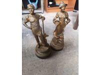 Metal antique looking statues