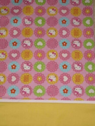 HANDMADE HELLO KITTY  HEARTS AND  FLOWERS FULL SIZE  PILLOW CASE