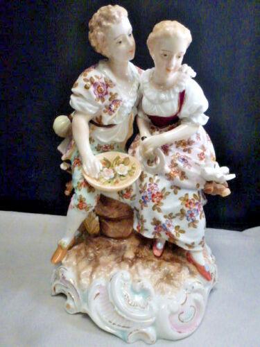 Antique Volkstedt German COUPLE  BIRDS DOVES  Porcelain Figurine  19TH CENTURY