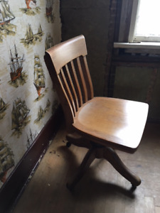 two vintage solid oak Krug Office Chairs