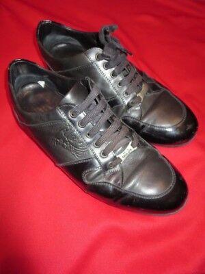 ~~VERSACE COLLECTION Black Sneakers Shoes Medusa Imprint V90012 Sz 40 9~~Leather