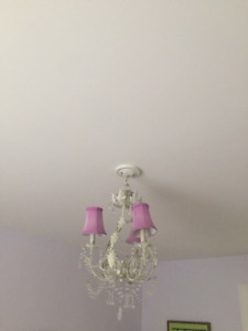 3 light white and pink chandelier