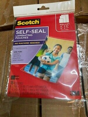 Scotch 3m Self-sealing Laminating Pouches Variety Pack 15 Pouches New
