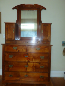 Solid Wood Dresser with Mirror; Bank Teller's Window