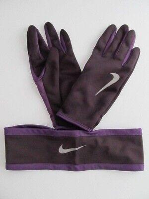 9600c470dbf Nike Dri-Fit Women s Running Headband Glove Set Reversible Purple M L New